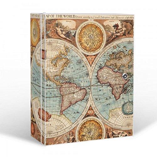 banjado Medizinschrank groß abschließbar | Arzneischrank 35x46x15cm | Medikamentenschrank aus Metall weiß mit Motiv Historische Weltkarte