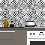60 Stickers adhésifs carrelages | Sticker autocollant Carrelage - Mosaïque carrelage mural salle de Bain et Cuisine | Carrelage Adhésif - Nuance de Gris Élégants - 10 x 10 cm - 60 Pièces