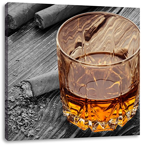 Pixxprint Sigaro Dietro Whiskey Glass 70x70 cm Stampa su Tela Decorazione