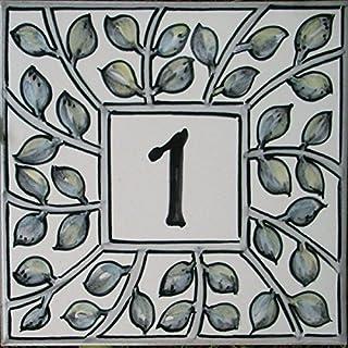 Azul'Decor35 Kennzeichen gemalt House handgefertigte emaillierte Steinfliesen – 15x15x0,5cm - Wählen Sie Ihre Nummer!
