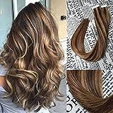 Tape In Haarverlängerungen Echthaar Extensions 50g pro Set #4P27 Klavier Farbe Doppelseitiges Klebeband Seamless Silk Glattes Haar in Extensions Human Hair 20zoll/50cm