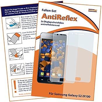 2x mumbi Displayschutzfolie für Samsung Galaxy S II 2 i9100 Displayschutz AntiReflex antireflektierend