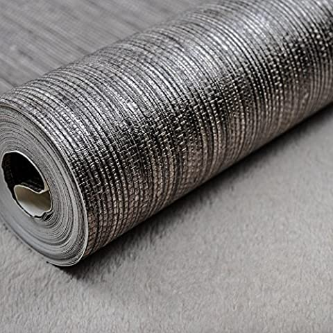 XMQC*Rustico moderno vinile argento metallico Faux Texture carta da parati
