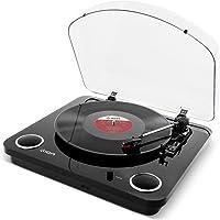 Ion USB Digital Encoder Vinyl Plattenspieler/Turntable mit eingebauten Stereo Lautsprechern - inkl. Converter Software (MAC/PC), Schwarz