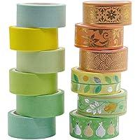 12 Rouleaux Washi Tape Ruban Adhésif Papier Décoratif Masking Tape pour Scrapbooking Artisanat de Bricolage (ruban washi…