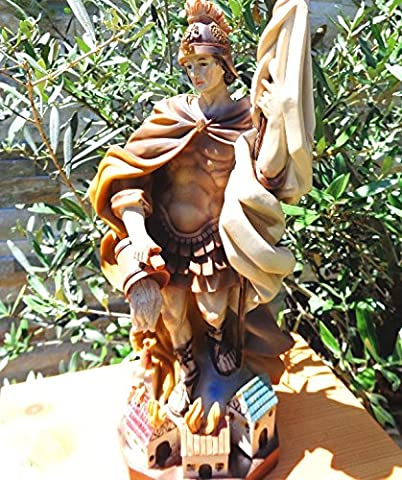 35 - 38 cm ÖLBAUM - PREMIUM - Heiligenfigur GEBEIZT Heiliger Florian, mit Wasserkanne und Speer, Schutzpatron der Feuerwehr, der Bäcker, Kaminkehrer / Rauchfangkehrer, Töpfer, Bierbrauer und aller Feuerwehrleute - alle ÖLBAUM HEILIGEN- und Krippenfiguren zeichnen sich durch extrem sauber gearbeitete und präzise Gesichtszüge der Figuren aus, coloriertes Holzfiguren- bzw. Echtholzimitat, standfeste, handbemalte Steinfigur, schwer