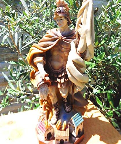 Riesige ÖLBAUM - PREMIUM - Heiligenfigur BRAUN GEBEIZT Heiliger Florian, mit Wasserkanne und Speer,...