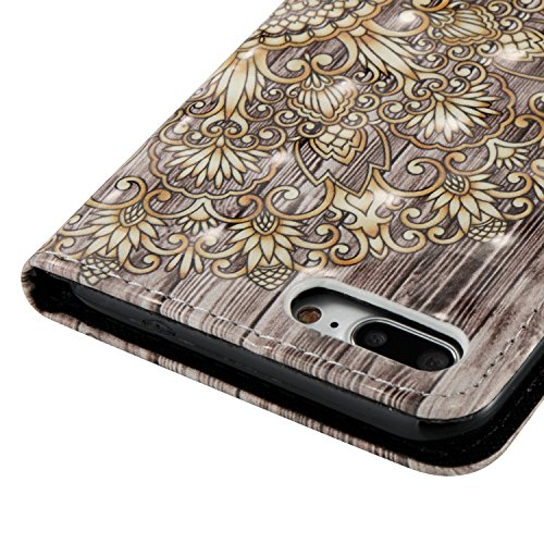 Ekakashop iphone 7 plus 5.5 Custodia in Pelle, Cover Per iphone 7 plus portafoglio, Diamante Fashion Colorate 3D Painted Ragazza Fantasia Lusso Libro Wallet PU Pelle Leather Morbido Silicone Inner She Fiori doro