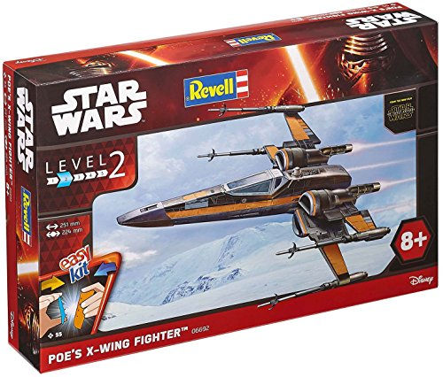 Revell 06692 Modellbausatz Star Wars Poe´s X-wing Fighter im Maßstab 1:50, Level 2, originalgetreue Nachbildung mit vielen Details, Steckmechanismus, mit vorbemalten und vordekorierten Teilen