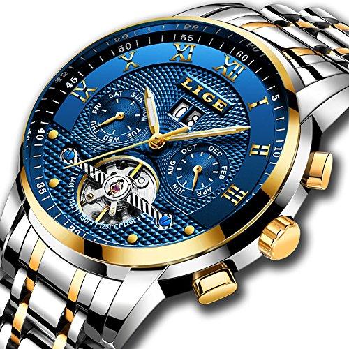 LIGE Herren Uhren Mechanische Automatikuhr mit Edelstahl Stahlband Leuchtend Wasserdichte Datum Mondphase Funktion Armbanduhr Männer Skeleton Tourbillon Gold Blau 9841 (blau)