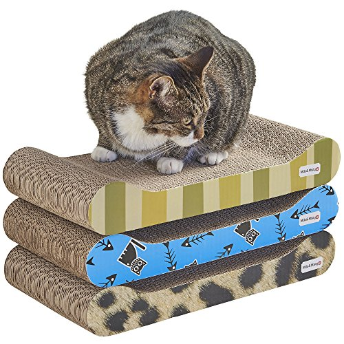 3 Piece Patterned Cat Scratching Board Lounger Set with Free Catnip 48 x 22.5 x 7.6cm