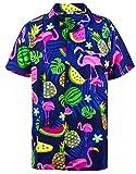 King Kameha Funky Hawaiihemd, Kurzarm, Flamingos Melonen, Blau, L