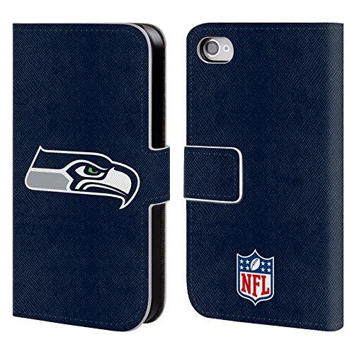 Offizielle NFL Fussball Seattle Seahawks Logo Brieftasche Handyhülle aus Leder für Apple iPhone 5 / 5s / SE Einfarbig