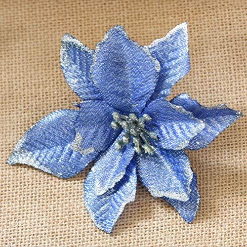 8 Stücke Weihnachtsbaum Blumen 13cm LUOEM Weihnachtskränze für Weihanchten Hochzeit Party Deko (blau)