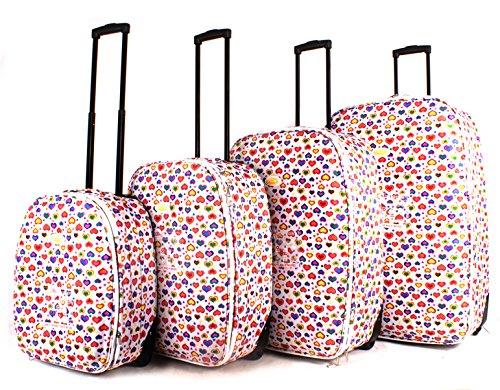 Lot de 4 – Funky léger Aero Voyage Valise bagages tc-hp-01 Motif cœurs Blanc