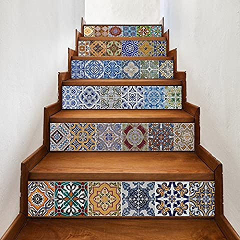 Buluke Keramische Fliesen Muster DIY Treppen Aufkleber wasserdichte Wandbild Home Decor