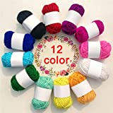 Cocity 12 Assorted Colors Rainbow DIY Soft Acrylic Yarn, Perfect for Hand Needlework Knitting and Crochet Woven Project, Grea