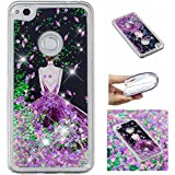 For Huawei P8 Lite 2017 Case With Screen Protector,Huawei P9 Lite 2017 Bling Girly Case For Women,Aearl Cute Glitter Liquid Case Shiny Flowing Floating Soft Protective Cover For Huawei Honor 8 Lite - B07FRYL4DH