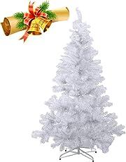 MCTECH 60cm-240cm PVC Festive Künstlicher Weihnachtsbaum Weiss Tannenbaum Weiß Christbaum Dekobaum mit Ständer