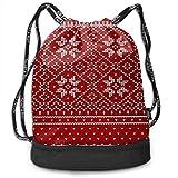 PmseK Turnbeutel Sportbeutel Kordelzug Rucksack, Red Deer Snowflake Multifunctional Bundle Backpack...