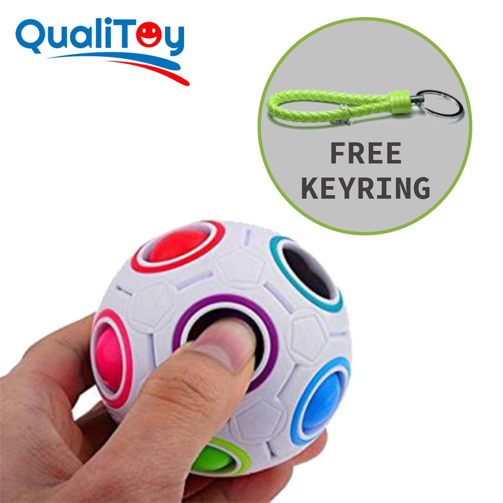 Qualitoy Bola de colores para niños y adultos de gran calidad con llavero de regalo, magic ball, regalo perfecto y original para navidades y amigo invisible, juguete anti estres