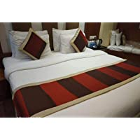 Relax Feel red and Coffee Multicolour Color, Dupion Silk Quilted Bed Runner 8 ft with 2 nos. Cushion Covers 18x96 inch