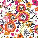 Floral Stoffe–Distant Dreams Collection–0,5Meterware–von Dashwood–100% Baumwolle Butterflies Floral Pink Orange DASH148