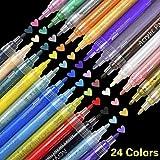 SUPERSUN Marqueur Peinture Acrylique, 24 Couleurs Peintures Acryliques pour Bois, DIY, Dessin, Tissu, Verre, carte de Noël (10 Cartes)