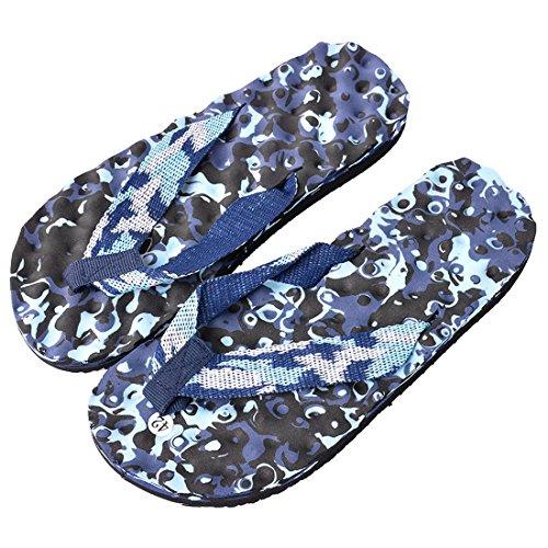 Vertvie Unisex Erwachsene Sommer Camouflage Flip Flops Schuhe Sandalen Slipper Indoor Outdoor Zehentrenner Camouflage Blau