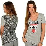 Adidas Bball Leopard Damen T-Shirt Grau