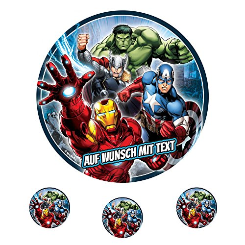 Tortenaufleger Fototorte Oblate Tortenbild Geburtstag eßbar Marvel Avengers (Oblatenpapier) Std Muffin