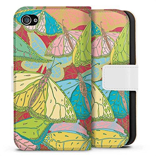 Apple iPhone X Silikon Hülle Case Schutzhülle Schmetterling Muster blumen Sideflip Tasche weiß