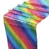 #3: Ocamo Rainbow Sequins Table Runner Glitter Table Flag Decorations for Wedding Birthday Baby Shower