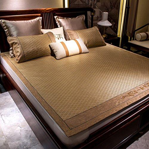 Liuyu · Tapis de lit double pliable de 1,8 m Sièges de rotin d'été Trois pièces 1,5 M de soie d'été Sous-tapis de climatisation en soie doux pour la peau et confortable (avec deux taies d'oreiller en