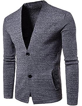 HY-Sweater Manga Larga Hombres LÄSSIG V Neck Jersey, gris, medium
