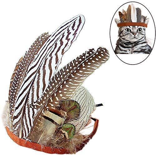 Cowboy Maskottchen Kostüm - Oncpcare Halloween-Katzen-Kostüm, Indiana-Kultur, Cosplay, Haustier-Haarband, Verstellbarer Kopfschmuck für Katzen und Hunde