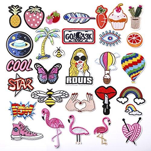 ZesGood - Conjunto de 30 parches bordados para planchar o coser, multicolor