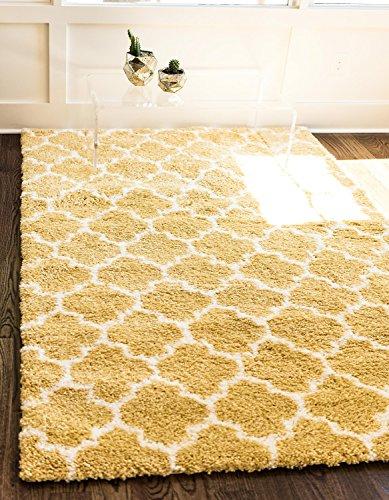 Modernes Plüsch Marrakesch Shag modernes Bereich Teppich, gelb, 8 x 10