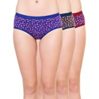 AJ FASHIONS Women's Cotton Printed Brief Panty - Pack of Three + Free Transparent Strap [ 1 Pair ] with This Pack - Four Colors