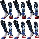 Over The Calf Athletic Softball Socks, J'colour Women's Girls Crazy Fun Patterned 3D Digital Print Long Knee High Socks 6 Pairs