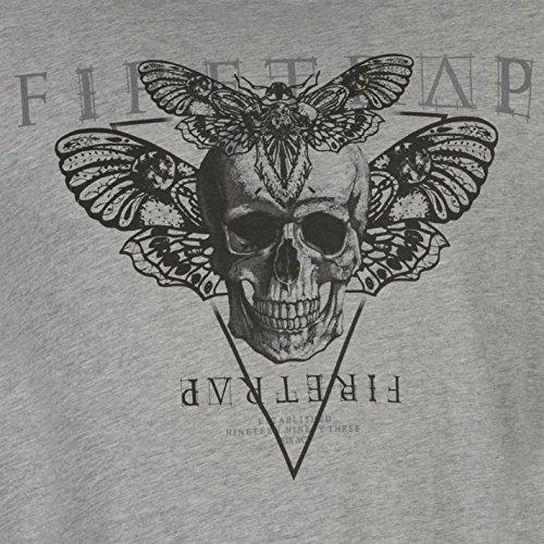 Firetrap Herren Grafik T Shirt Kurzarm Rundhals Print Motiv Freizeit Grau