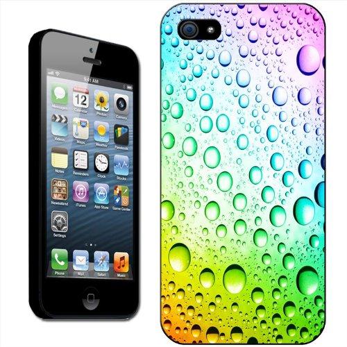 Arc-en-ciel Multicolore Gouttes d'eau coque arrière rigide détachable pour Apple iPhone modèles, plastique, noir, iPhone 6 Plus