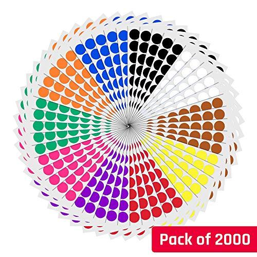 2cm etichette autoadesive bollini colorati rotonde cerchio - 10 colori, 2000 pezzi