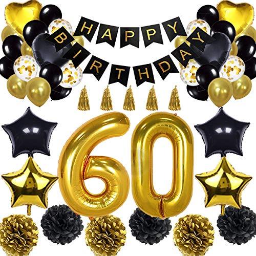 ationen Ballon Banner - Happy Birthday Banner, 60. Gold Anzahl Ballons, Schwarz und Gold, Nummer 60 Geburtstag Ballons, 60 Jahre alt Geburtstag Dekoration ()