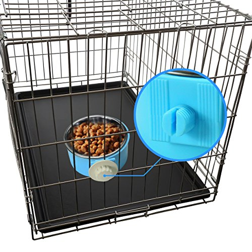 Joyoldelf-Dog-Bowl-Feeder-Pet-Puppy-Food-Water-Bowl-2-in-1-Plastic-Bowl-Stainless-Steel-Bowl-Mountable-CatRabbit-Bird-Hamster-Shitzu-Ferret-Food-Basin-Dish-Perfect-for-Crates-Cages-Blue