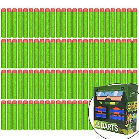 EKIND 100 Pcs 7.2cm Foam Darts for Nerf N-strike Elite Series Blasters Toy Gun(Green)