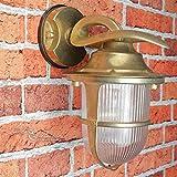 Massive Premium Wandleuchte in Messing antik E27 max. 18W 230V Gartenlampe Gartenleuchte Hoflampe Wandlampe Außenwandleuchte Hofleuchte