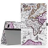 MoKo Kompatibel mit Amazon Fire 2015 7 Zoll (Vorherige 5th Generationeration - 2015 Modell) Hülle - Kunstleder Ständer Schutzhülle Smart Cover mit Stift-Schleife & Stanfunktion, Map A