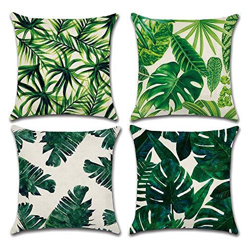 Seepong Grün Kissenbezug Vintage Design Leinen Kissen Fall Blatt Gitter 4 Stück Kissenbezug 45x45cm