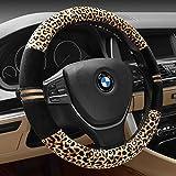 Funda Inebiz para volante de coche de terciopelo de leopardo, 38 cm, ajuste universal